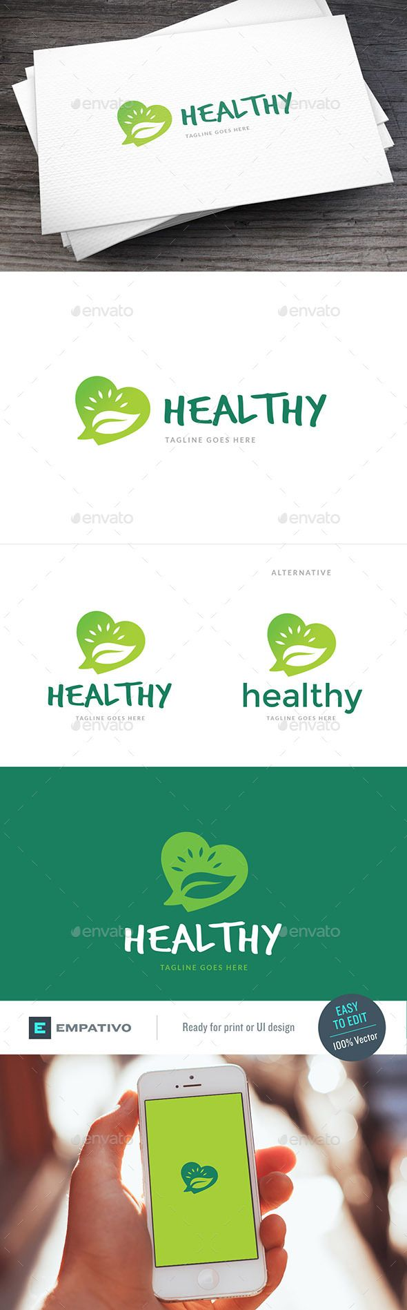 Healthy Fans Logo Template by empativo Modern, versatile and stylish logo template. Ideal for a wide range of uses. Features  100% vector. Easy to edit color / text