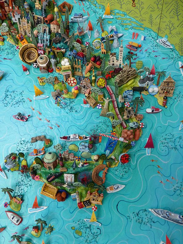 Sara Drake - Southern Italy. Detail from a large 3D illustrated map of Italy - papier mache, acrylic paint, balsa wood and mixed media. 2014
