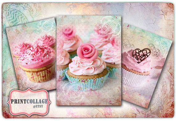 Cupcake  Digital Collage Sheet Printable Vintage by PrintCollage
