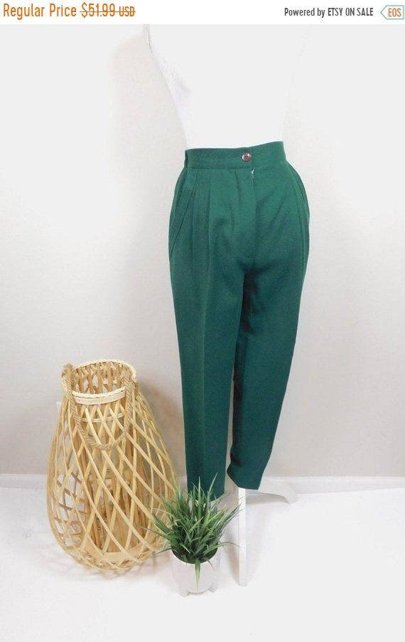 Vintage Wool pants high waisted wool pants wool trousers size M wool slacks m pants vintage pants size 6 pants green wool pants 30 waist