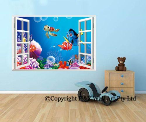 Details About Finding Nemo 3d Window View Wall Stickers Kids Nursery Decor Art Mural Decal