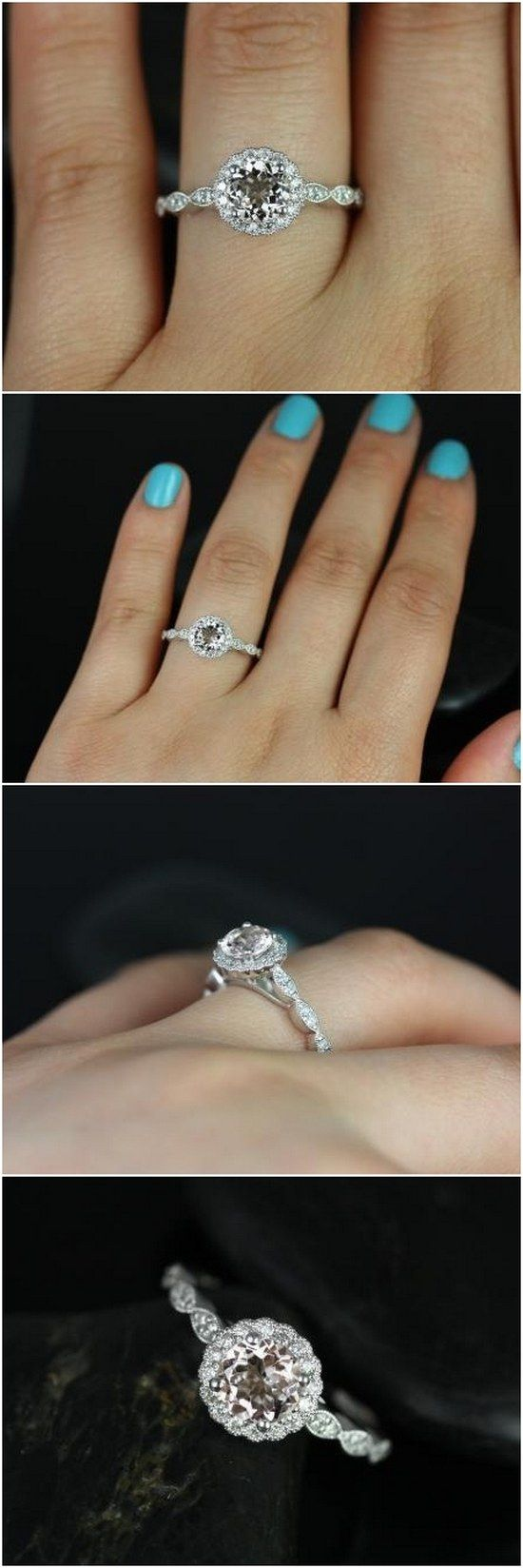 Sunny 6mm 14kt White Gold Round Morganite and Diamonds Flower Halo WITH Milgrain Engagement Ring / http://www.deerpearlflowers.com/inexpensive-engagement-rings-under-1000/