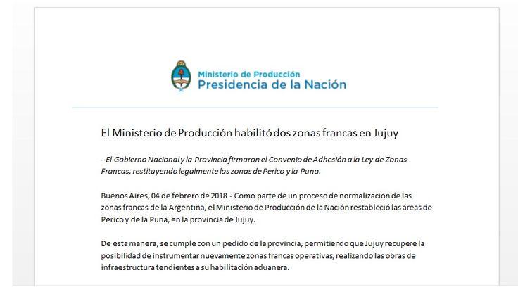 El Ministerio de Producción habilitó dos zonas francas en Jujuy: El Gobierno Nacional y la Provincia firmaron el Convenio de Adhesión a la…