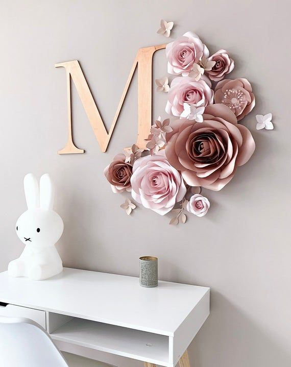 Paper Flowers Wall Decor Blush Nursery Wall Decor Paper Flowers Set Paper Flower Decor Nursery Paper Flower Nursery Wall Decor With Images Paper Flower Wall Decor