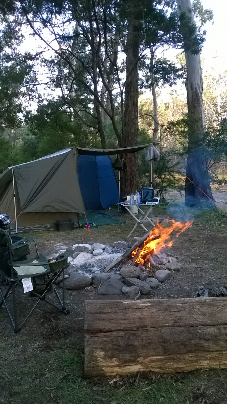 Camping along the banks of the Dalrymple Creek QLD. Gordon Country