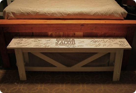 Rustic Wedding Guestbook Bench-a sentimental (and practical) piece of furniture to remember the friends and family who shared the special day.