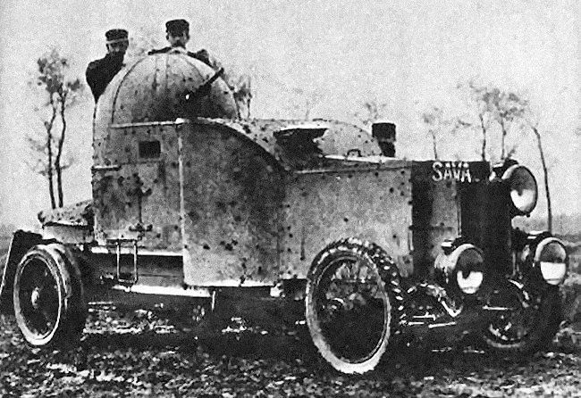 By 1914, the good road network and flat terrain of Belgium favored large-scale use of armored cars. In 1912 the Belgian Army was already pioneering small patrol units of regular road cars equipped with machine-guns.
