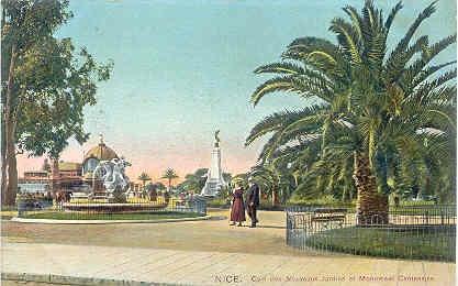 Autochrom Postcard - Nice - Coin des Nouveaux Jardins et Monument Centenaire , c1910