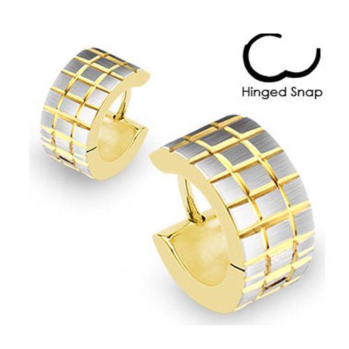 Oorbellen ring gold plated vierkantjes