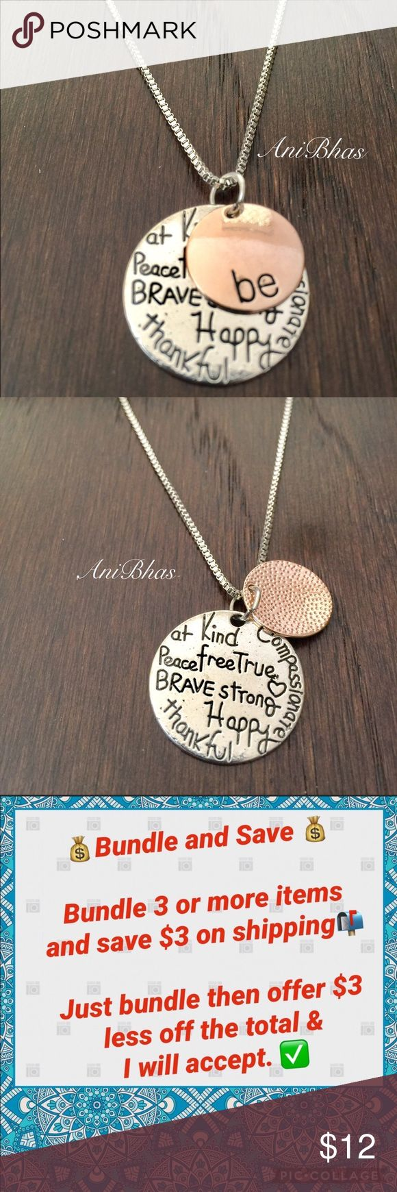 "Two-Tone ""Be"" Graffiti Initial Charm Necklace Two-Tone ""Be"" Graffiti Initial Charm Necklace Silver Tone Rose Gold Tone Pendant Inspirational Necklace ... Be Kind Jewelry Necklaces"