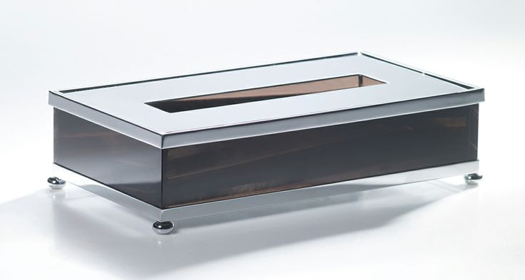 Tissue box from Cristal and Bronze. Highly decorative bathroom accessories in chrome metal with obsidian and crystal | Harlequin London #decorative #accessories #bathroom #decor