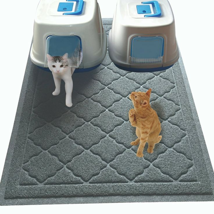 Non Toxic JUMBO Size Cat Litter Mat - (47 x 36 in) - Extra Large Scatter Control Kitty Litter Mats for Cats Tracking Litter Out of Their Box - Soft to Paws.