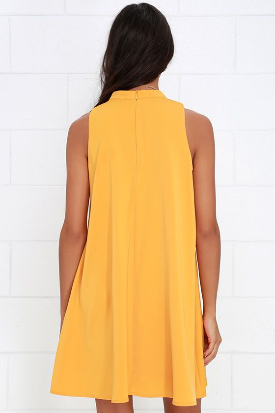 Sway Time Mustard Yellow Swing Dress