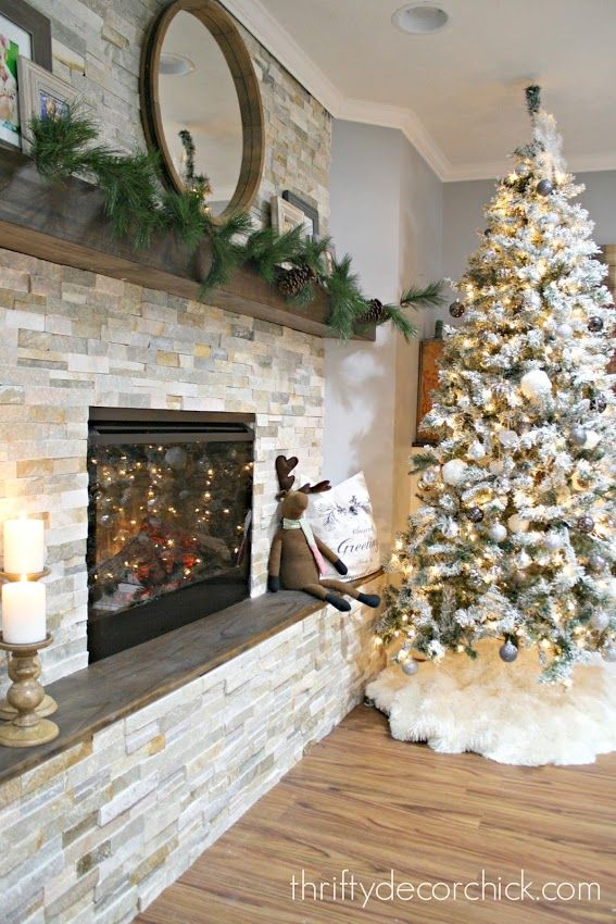 How to add a stacked stone electric fireplace where there was none!