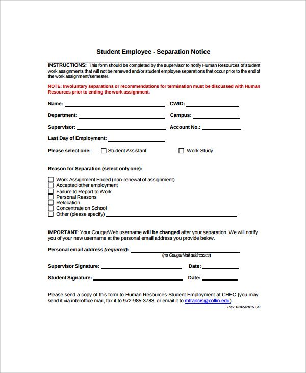 Employee Separation Form Template employment termination form – Employee Separation Form Template