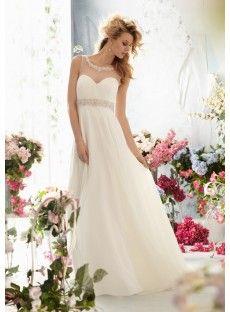 Court Train Chiffon Princess Wedding Dress