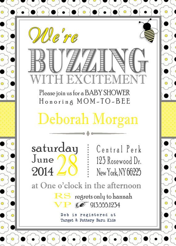 Bee Baby Shower Invitation, Neutral Baby Shower Invitation, Honey Bee, Bumble  Bee, Yellow And Gray, DIY Printable, Printed Invitations