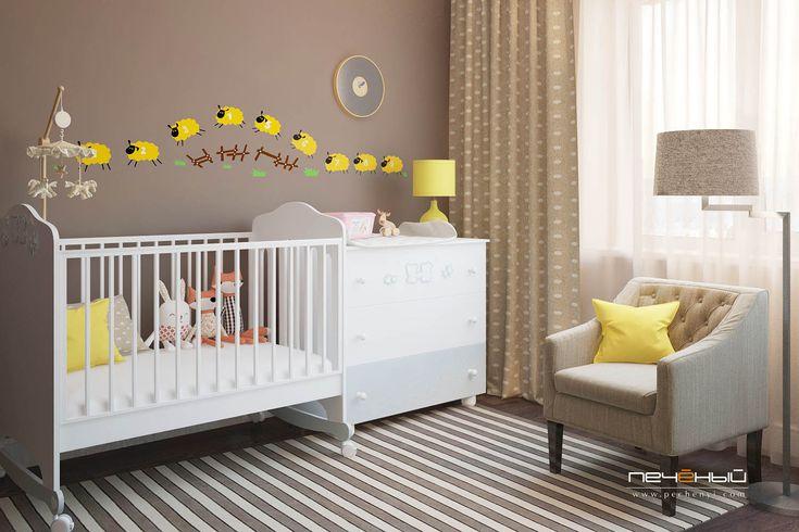 Дизайн интерьера детской для мальчика или девочки в стиле неоклассика в трехкомнатной квартире.  Цвета: белый, бежевый, коричневый, желтый.
