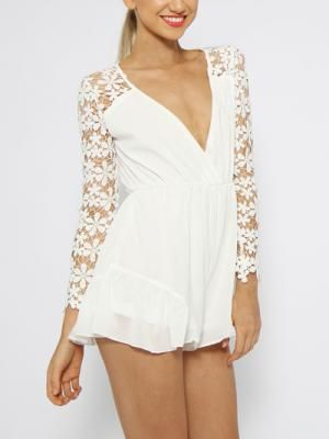 Shop Choies Design Limited White Angel Romper Playsuit With Lace Sleeves from choies.com .Free shipping Worldwide.  cid=5255jessica