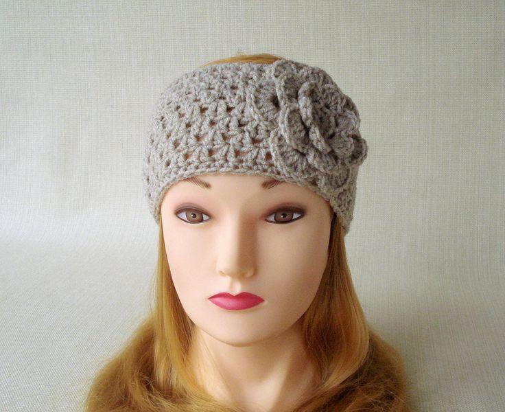 Womens crochet headband ear warmer Winter headband Crochet headband with flower Adult headbands for women Head bands Hand Crochet earwarmer by LJaccessories on Etsy