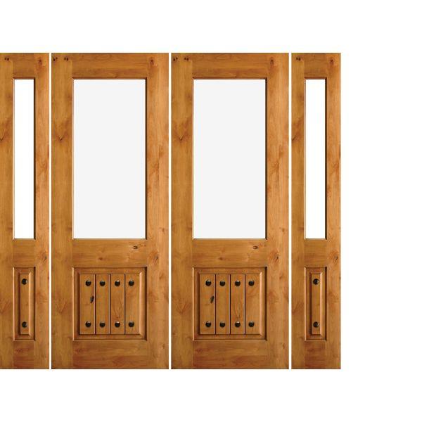 Krosswood Knotty Alder Half Lite Open Rim with V-Grooves Double Doors + 2 Half-Lite Sidelite + Speakeasy Kit, Clavos and Strap Hinges