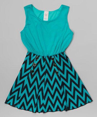 Look what I found on #zulily! Turquoise & Black Chevron Dress - Girls #zulilyfinds