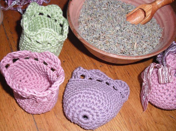 Simple crochet sachet via Craftsy