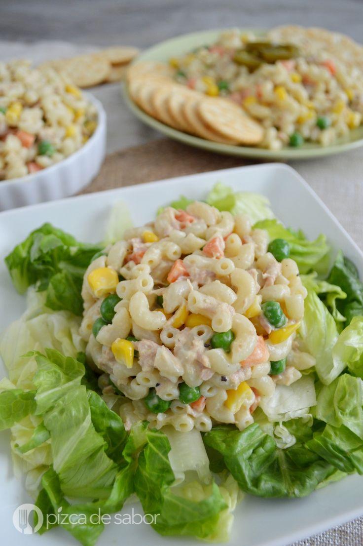 Ensalada de coditos con atún (pasta con atún) www.pizcadesabor.com