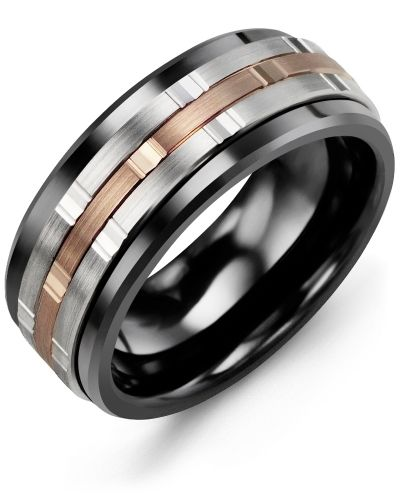 Mens High Tech Black Ceramic Wedding Ring With 10kt White Rose Gold Inlay