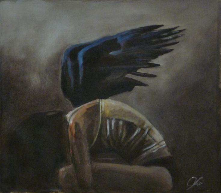 """Il terzodipinto della serie """"Pain"""" Il volo di un Angelo Acrilico su tela  Mi risolleverò, il mio volo sarà maestoso, le mie ali toccheranno il sole.  Il mio corpo sarà leggero, sottile, elegante.  Non avrò ali … Continua"""