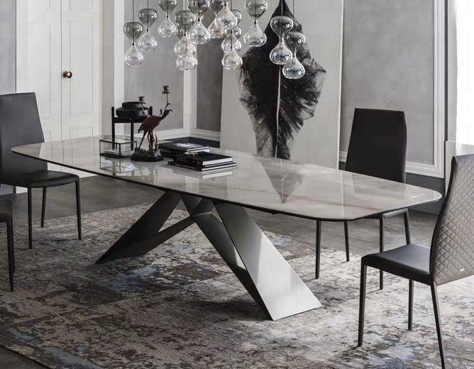 Long Black Power Coated Metal Feet Marble Dining Table And Chair