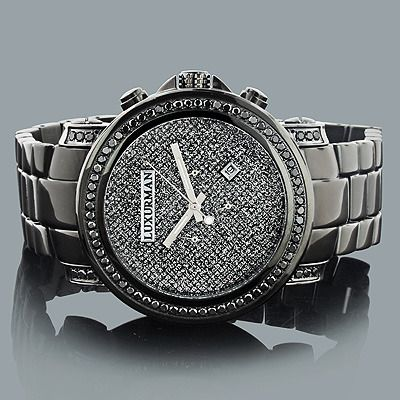 This Trendy Mens Black Diamond Watch from designer LUXURMAN Watches collection showcases 3 carats of sparkling diamonds. This Luxurman diamond watch features a black dial paved in sparkling stones, an oversized black tone stainless steel case and a polished black tone stainless steel band. This men's diamond watch makes a unique gift for a special occasion.