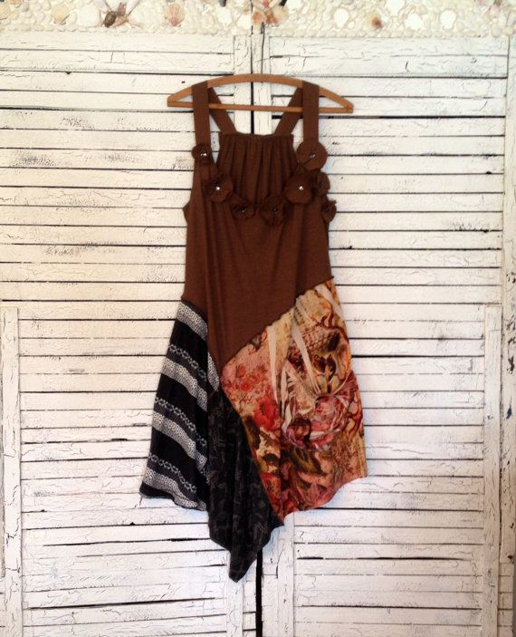 Earth Tones Long Tunic L Tunic or Dress Upcycled by AnikaDesigns