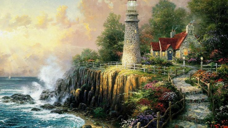 béke, tenger, világítótorony, ház, otthon, erdő, Thomas Kincaid, művészet, festmény