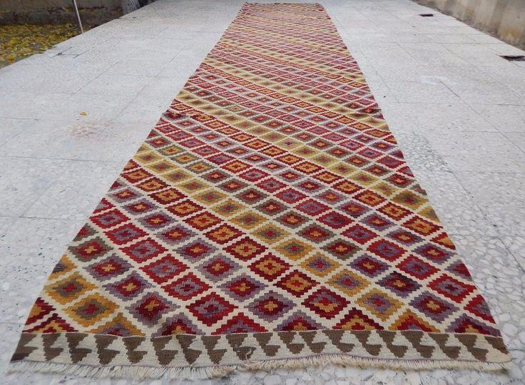 15 Foot Vintage Extra Long And Wide Handmade Wool Turkish Hall Kilim Rug  Runner