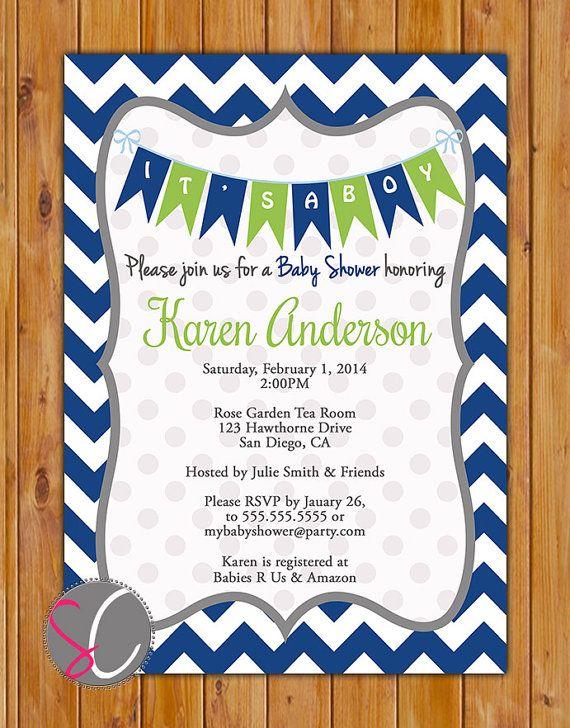 Navy Blue Lime Green Baby Shower Invitation Navy Chevron Pennant Invite It's a Boy Baby Shower Invitation 5x7 Digital JPG