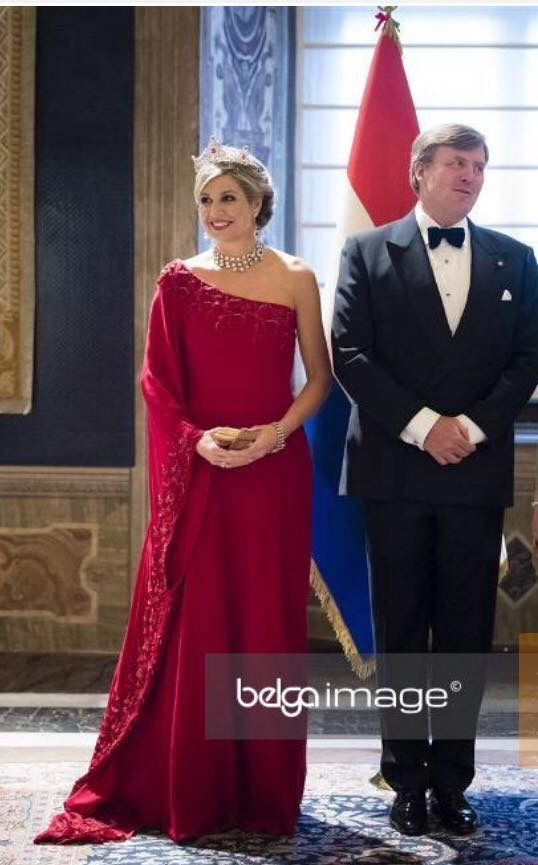 20 June 2017 - State visit to Italy: Rome, state banquet (day 1) - dress by Natan