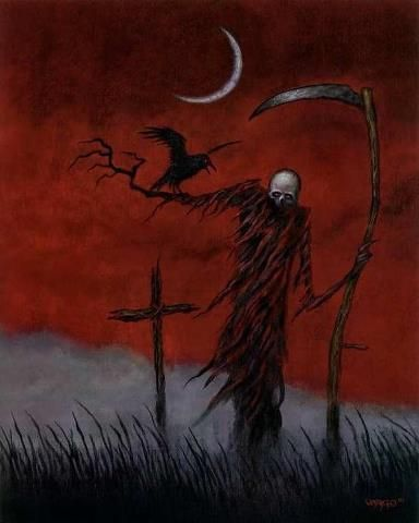 Grim Reaper in Cornfield with Raven