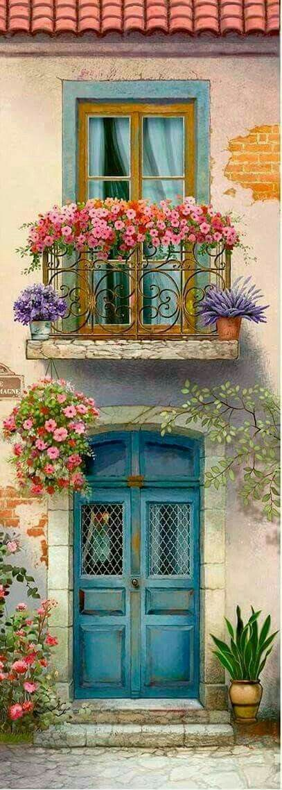 Beautiful doorway and windows with flowers!