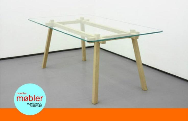 Mesa comedor escritorio vidrio dise o moderno retro for Diseno de mesa de madera con vidrio