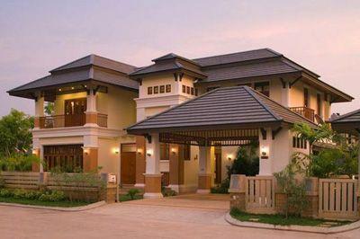 A modern home exterior.