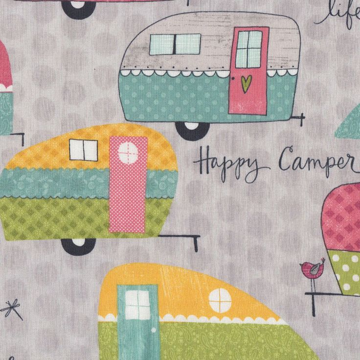 Caravans on Grey Camper Quilting Fabric - Find a Fabric. Available to purchase in Fat Quarters, Half Metre, 3/4 Metre, 1 Metre and so on.