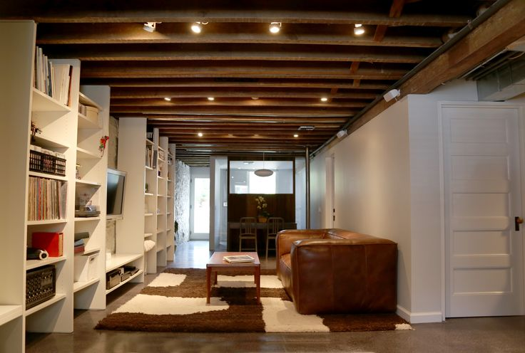 Polished Concrete Floor Exposed Wood Beams Brooklyn Townhouse Remontnyc Remont