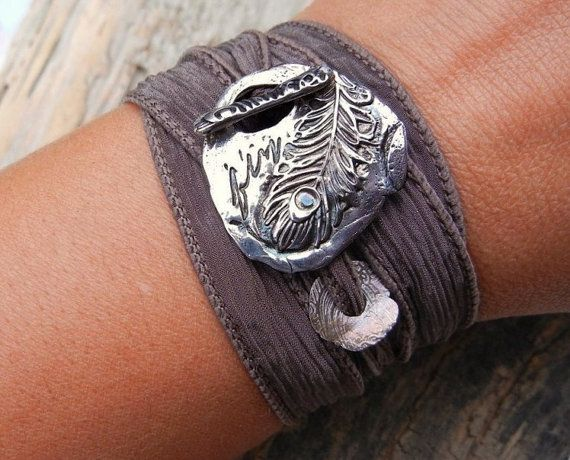 Handmade jewelry: Peacock Feathers, Silk Ribbon, Wrap Bracelets, Ribbons, Silver Bracelets, Ribbon Bracelets, Handmade Jewelry
