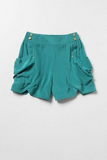 Bright shortsShorts Anthropologie Com, Bright Shorts, Silk Shorts, Hatters Style, Teal Shorts, Silk Crepes, Chic Style, Crepes Shorts, Perfect Shorts