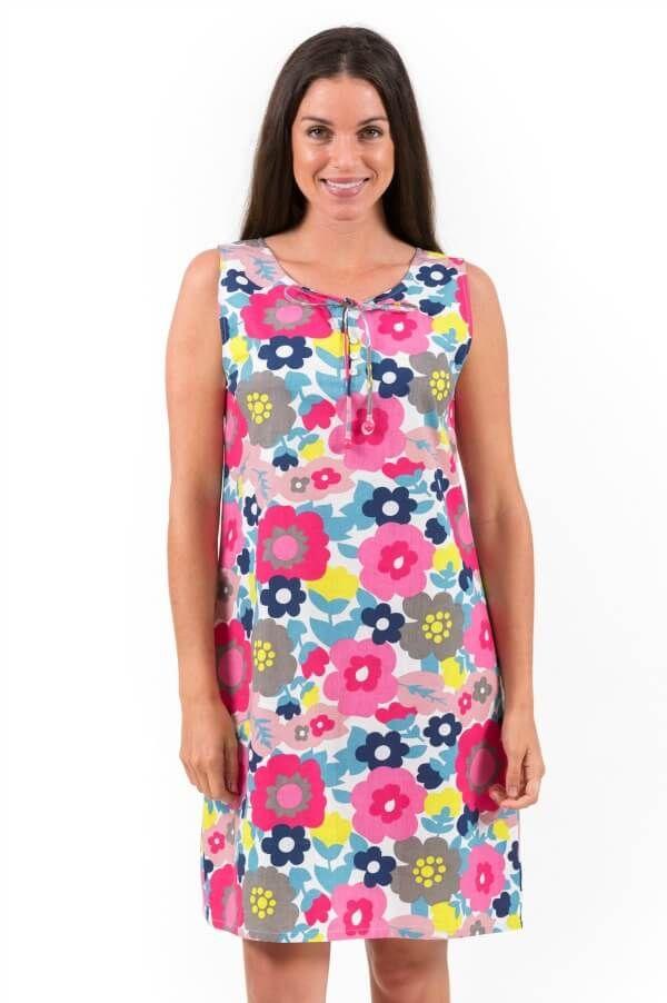 Cool Cotton Shift Dress Pink