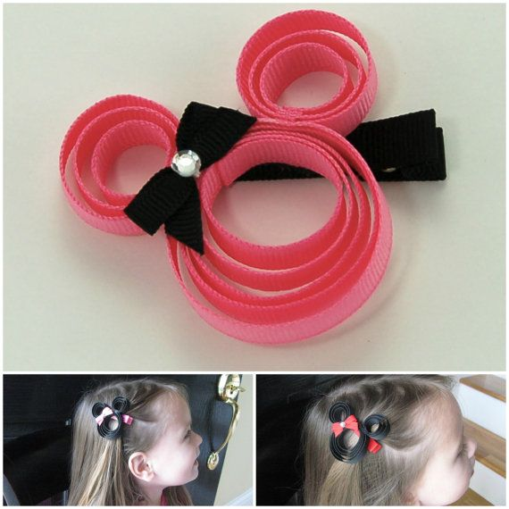 Minnie Mouse Hair Clip Pick Colors Black Red or by KatiebugBows, $5.00