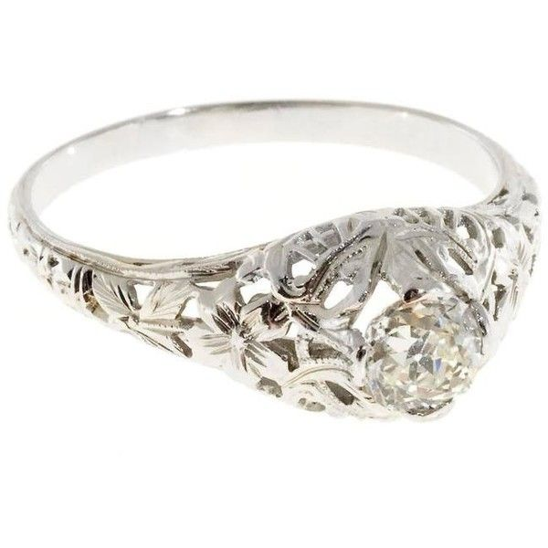 Preowned Art Deco Old Mine Cut Diamond Gold Open Work Engagement Ring ($2,625) ❤ liked on Polyvore featuring jewelry, rings, multiple, pre owned diamond rings, yellow gold diamond rings, engagement rings, 1920s engagement rings and pre owned engagement rings