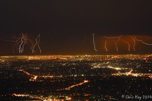 Composite of 7 individual images of around 20 lightning strikes behind the Melbourne city skyline