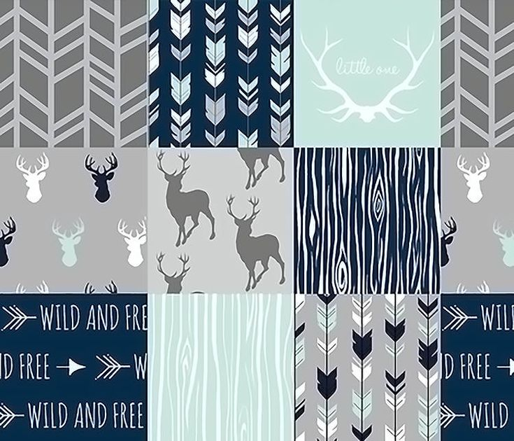 Patchwork Quilt, Baby Boy Quilt, Baby Boy Blanket, Woodland Minky Quilt, Boy Crib Bedding, Navy Mint Gray Grey Deer Arrow Rustic Nursery